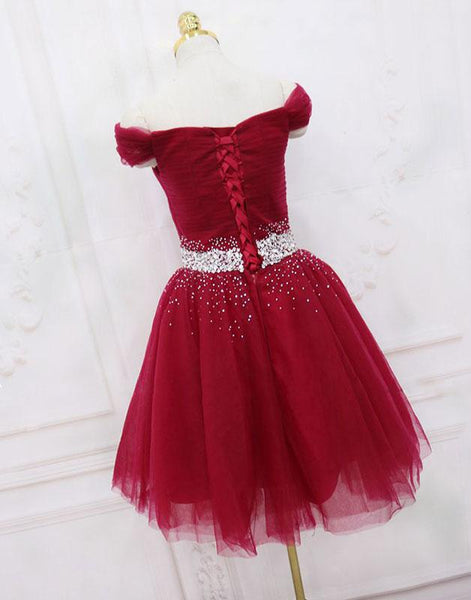 Dark Red Off Shoulder Knee Length Tulle Homecoming Dress, Wine Red Cute Party Dress