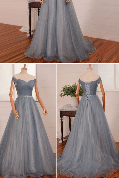 Grey Off Shoulder Prom Dress,  A-line Neckline Graduation Party Dresses, Formal Dress 2018
