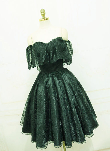 Beautiful Lace Green Off Shoulder Knee Length Party Dress, Bridesmaid Dress