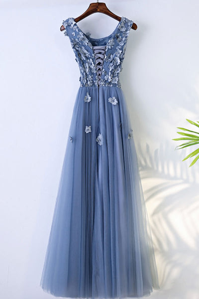 Chic Blue Tulle Scoop Neckline Full-length Bridesmaid Dress, Blue Lace Applique Party Dress