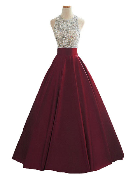 Wine Red Sequins and Beaded Backless Satin Formal Gown, Handmade Party Dress 2019