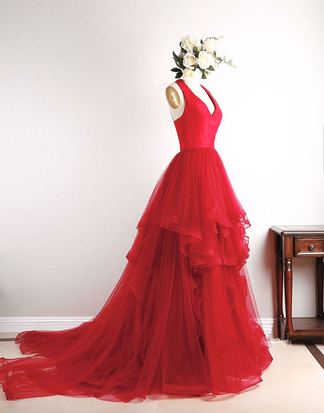 Red Prom Dresses 2018, Tulle Party Dresses, Formal Dresses, Evening Gowns
