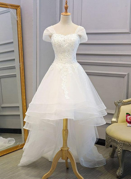 white high low wedding dress