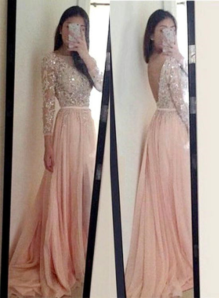 Pink Chiffon Long Sleeves Prom Dresses, Pink Party Dresses, Formal Dresses 2018