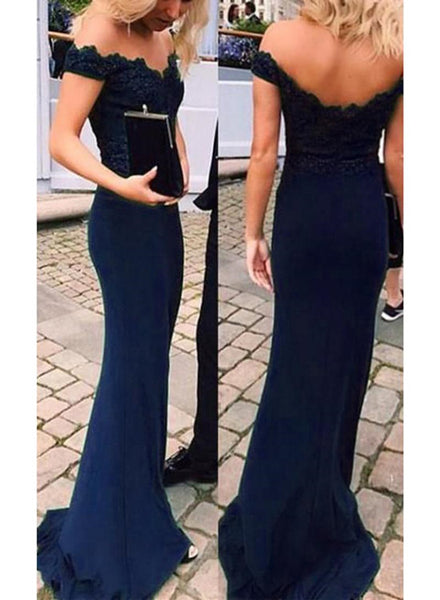 Beautiful Navy Blue Mermaid Evening Dress, Off Shoulder Bridesmaid Dress