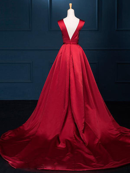 Gorgeous Dark Red Evening Gowns, Satin Junior Prom Dress, Pretty Formal Dress