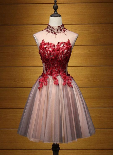 Lovely Halter Beaded and Red Applique Knee Length Formal Dress, Cute Party Dresses, Homecoming Dress