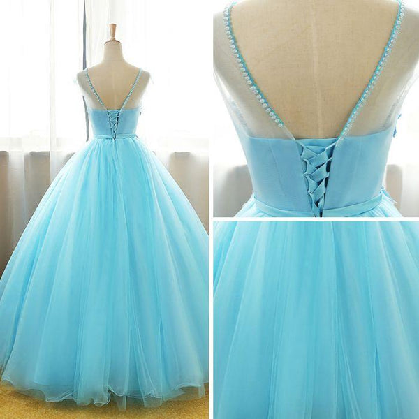 Beautiful Blue Round Long Party Dress,Ball Gown Lace Applique Sweet 16 Dress
