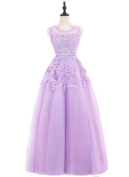 purple tulle long party dress