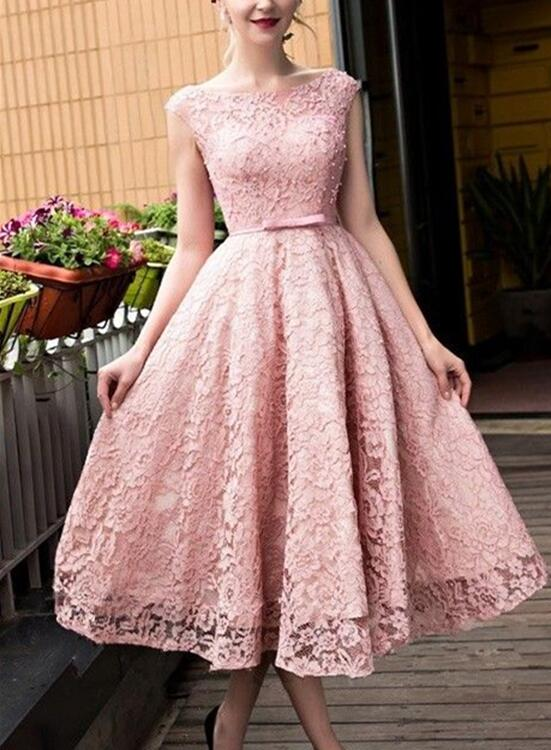 Pink Lace Tea Length Formal Dress, Beautiful Pink Prom Dresses ...