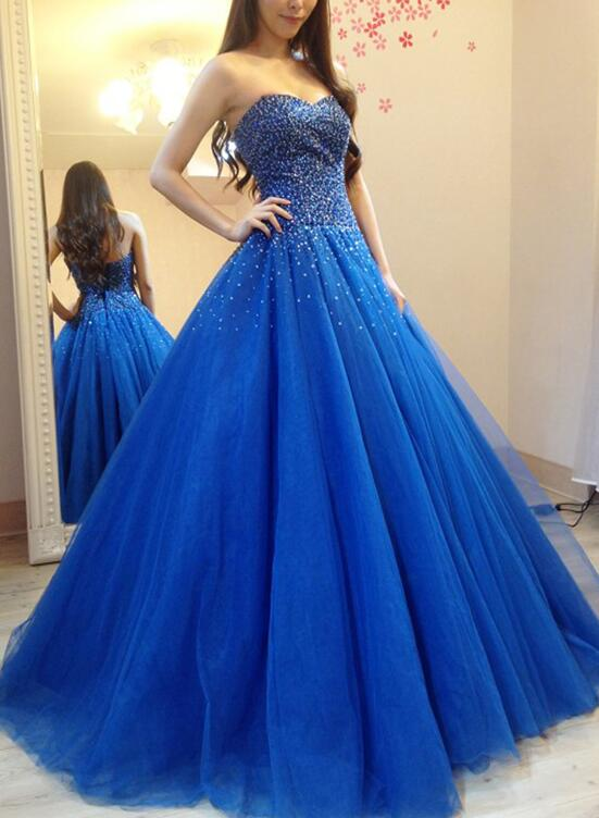Royal Blue Tulle Beaded and Sequins Ball Gown, Blue Formal