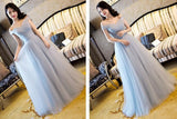 Beautiful Grey Off Shoulder Long Bridesmaid Dress, Simple Prom Dress