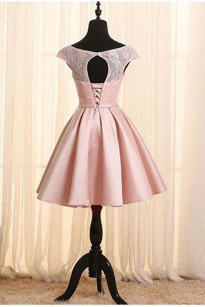 Pink Homecoming Dresses, Satin and Lace Lovely Dress with Belt, Cute Party Dresses
