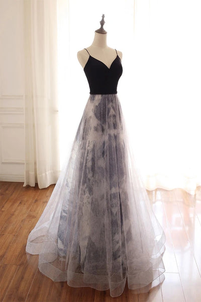 Black Straps Sweetheart Tulle Long Party Dress, Evening Gowns Graduation Dress