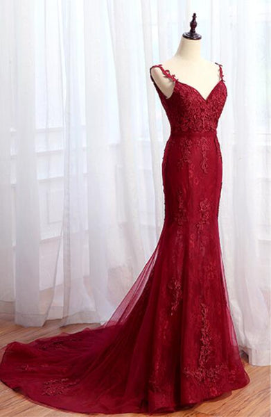 Charming Mermaid Lace Burgundy Prom Dress, Tulle Long Evening Dress