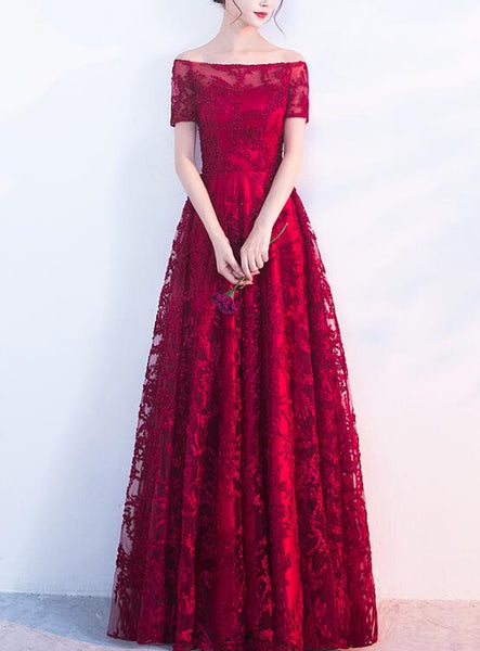 dark red lace prom dress