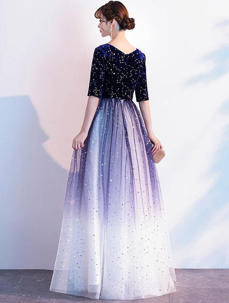 Charming Blue Sequins Gradient Long Party Dress, Sparkle Formal Dress