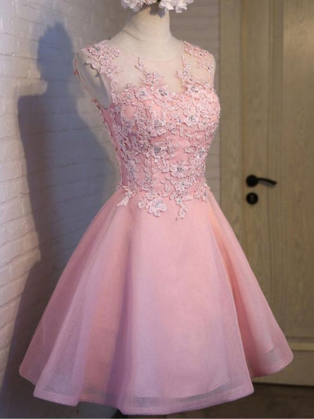 Elegant Pink Tulle Round Neckline Applique Party Dress, Charming Formal Dress 2019