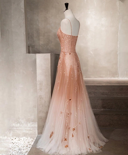 Charming Pink Tulle Straps Long Beaded Evening Gown, Straps Long Party Dress