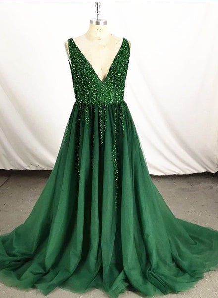 dark green tulle beaded long party dress