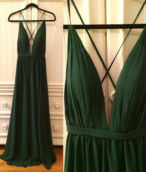 Dark Green Deep V-neckline Chiffon Cross Back Long Party Dresses, Sexy Formal Gowns