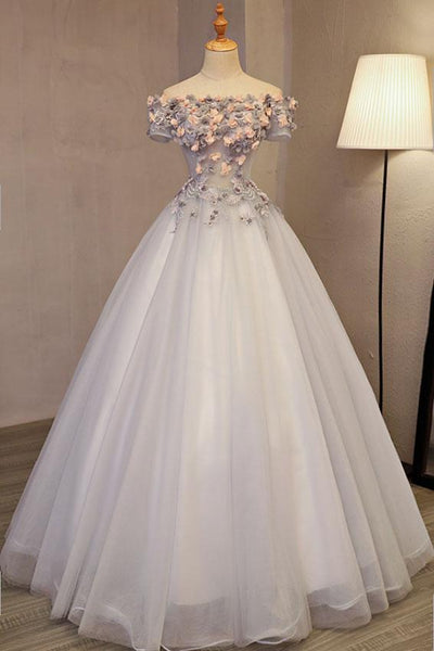 Gorgeous Light Grey Off the Sholder Flowers Formal Gown, Sweet 16 Dresses