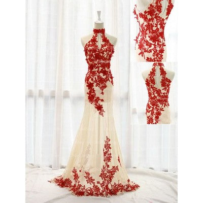 Sexy Red Lace Applique See Through Mermaid Gown, Red Prom Dresses 2018, Formal Gowns