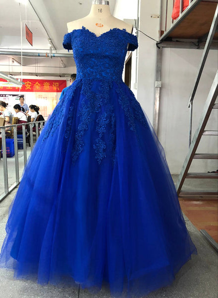 Gorgeous Blue Prom Gown with Lace and Beaded Sweet 16 Dress, High Quality Formal Gown