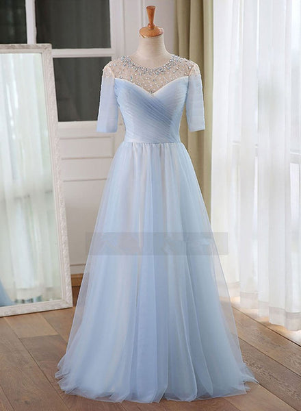 Light Blue Short Sleeves Beaded Charming Floor Length Party Gowns, Bridesmaid Dresses