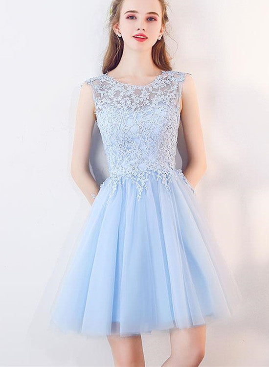 Light Blue Tulle Round Neckline Lace Cute Party Dresses 70fe3308daf0