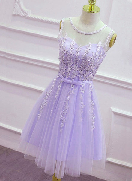 Lovely Tulle Round Neckline Applique Purple Party Dress, Lavender Homecoming Dress 2019