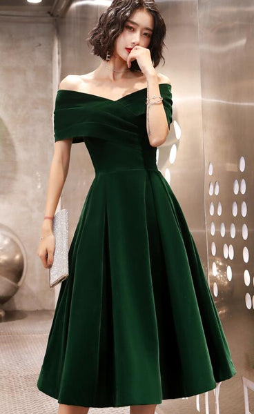 Green Tea Length Velvet Off Shoulder Party Dress, Green Bridesmaid Dress