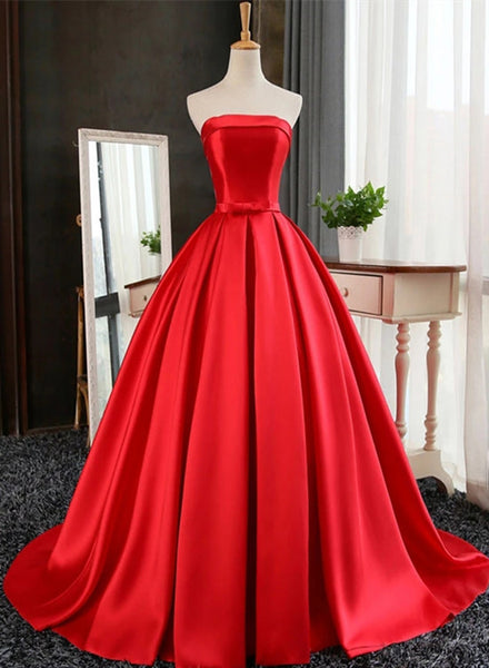 red satin prom dress