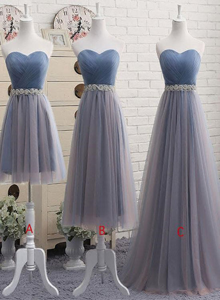 Tulle Grey and Blue Bridesmaid Dresses, Wedding Party Dresses, Long Party Dresses