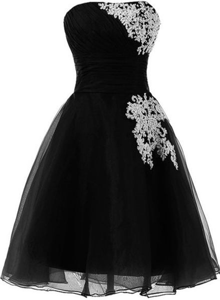 Love Black Short Tulle Party Dress, Black Homecoming Dresses, Short Tulle Dress