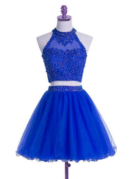 Royal Blue Two Piece Party Dress, High Quality Party Dress, Homecoming Dresses