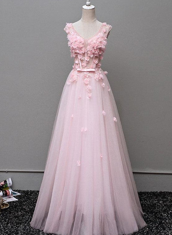Cute V-neckline Floral and Tulle Long Formal Gowns, Evening Gowns ...