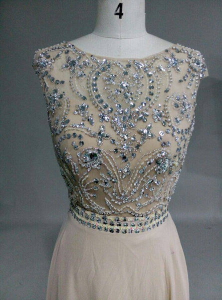 Gorgeous Beaded Backless Champagne Chiffon Long Prom Dress, Junior Prom Dress