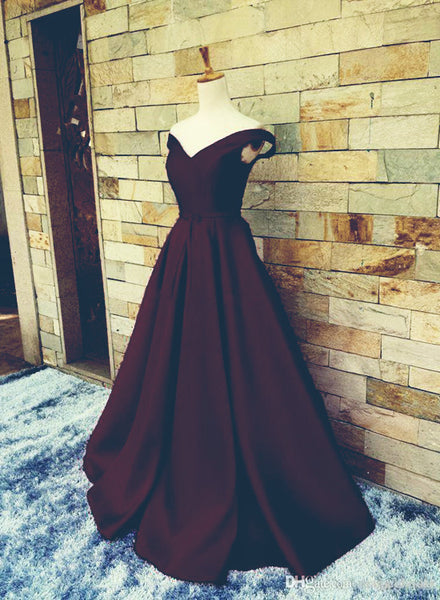 Maroon Satin Prom Dress, Junior Prom Gowns, Elegant Party Dresses
