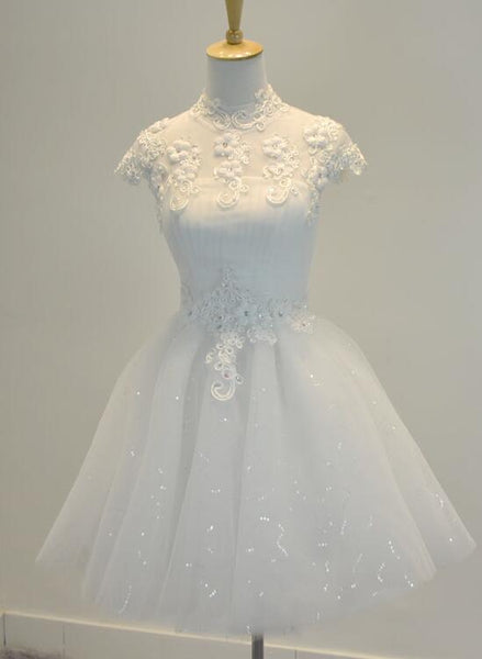 Lovely White Short Homecoming Dresses, Teen Graduation Dresses, White Tulle Prom Dresses