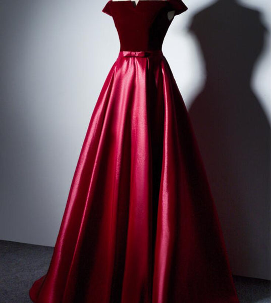 Charming Red Satin Off Shoulder Long Prom Dress with Velvet Bodice, New Style Prom Dress 2018, Junior Prom Dresses
