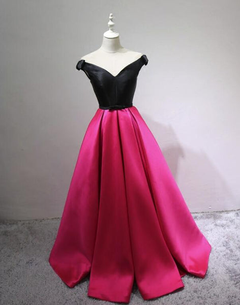 Black and Rose Red Satin V-neckline Prom Dress with Bow, Cute Gowns, Party Dresses 2018