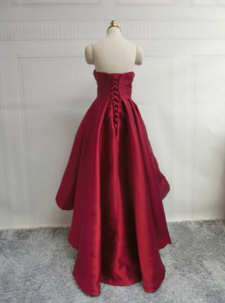 Wine Red Pretty High Low Party Dress, Wine Red Homecoming Dresses, Lace-up Junior Prom Dress 2018