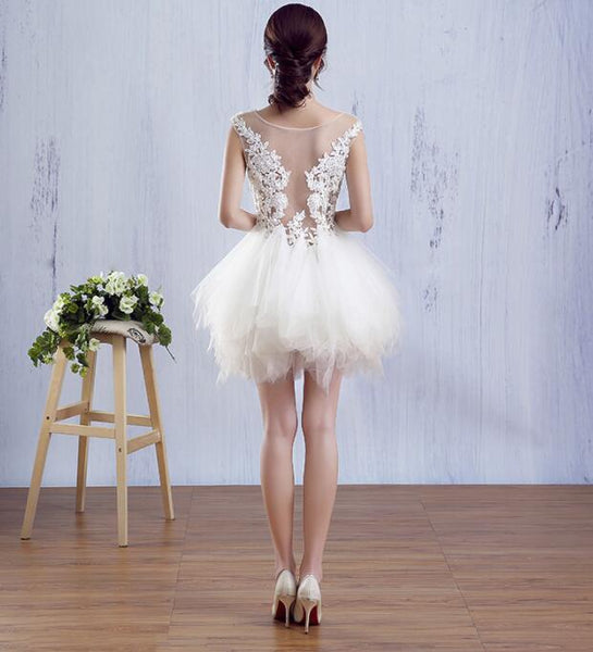 Charming White Mini Tulle and Lace Homecoming Dresses, White Formal Dresses, Lovely Party Dresses