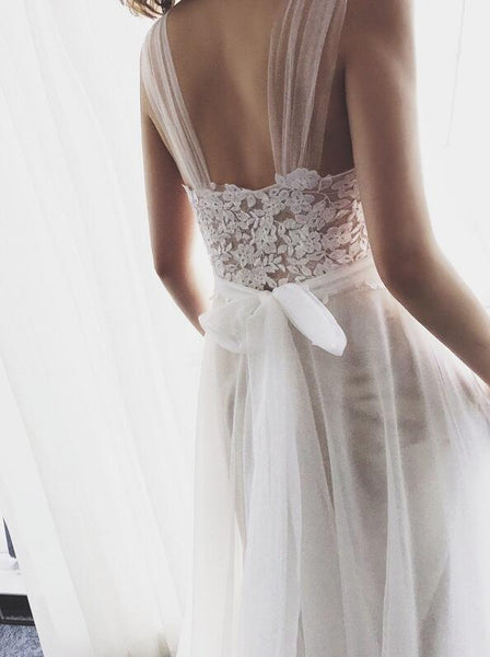 Simple Pretty Ivory Tulle Beach Wedding Dresses, Wedding Gowns, Simple Bridal Gown