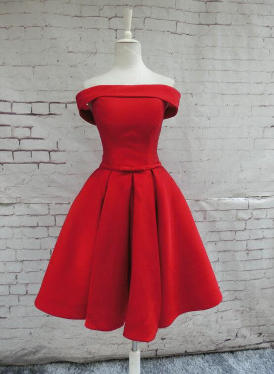 Red Satin Homecoming Dresses, Off Shoulder Party Dress, Knee Length ...