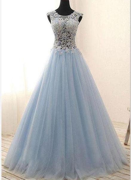 Blue Tulle Long Prom Dresses, Lace Party Gowns, Tulle Gowns 2018