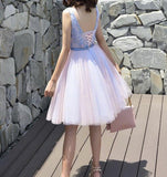 Pink Short Lace V Neck Elegant Homecoming Dresses,Short Prom Dresses 2018, Lovely Floral Party Dress