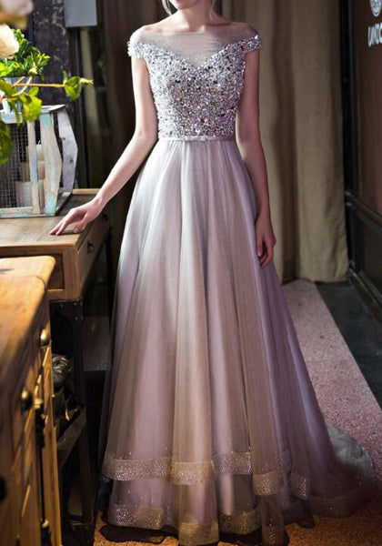 Grey Tulle Sequins and Beaded Long Gorgeous Prom Gowns, Grey Tulle Gowns, Formal Dresses 2018