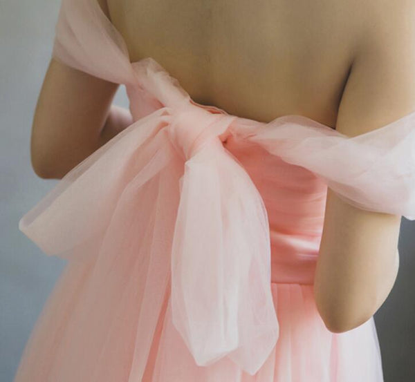 Light Pink Tulle Off Shoulder Party Dress with Bow, Soft Pink Formal Dresses, Bridesmaid Dresses